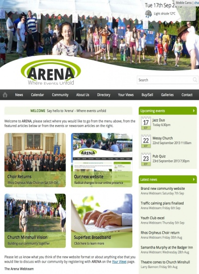 Arena Home Page