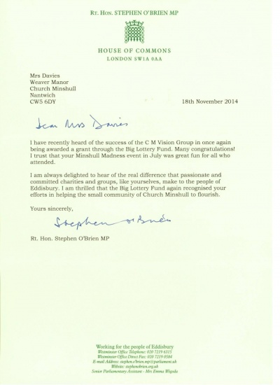 House of Commons letter