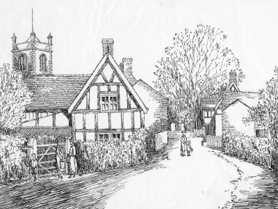 Ink drawing of Church Minshull